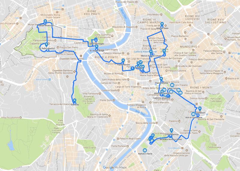 Mappa Percorso Roma in un giorno