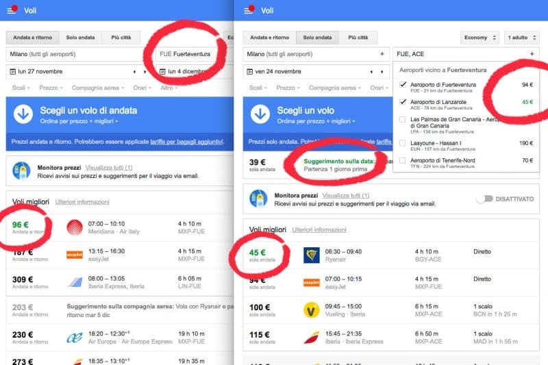 Google Flights destinazioni vicine