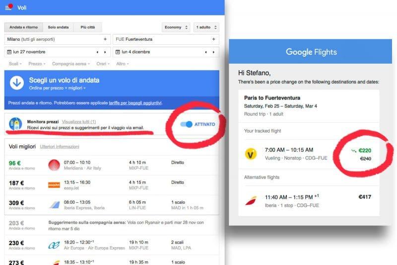 Google Voli opzione Monitora prezzi
