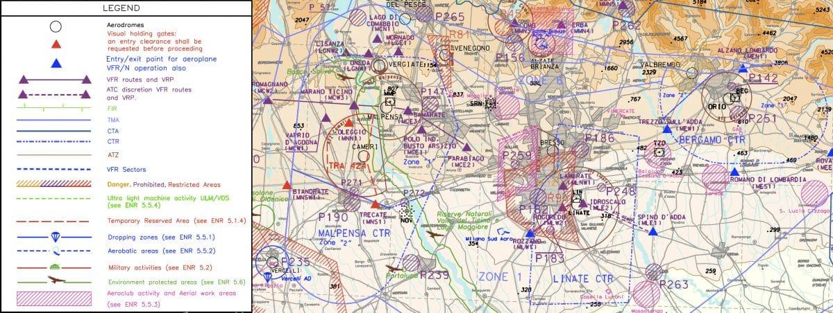 Mappa aerea della zona di Milano
