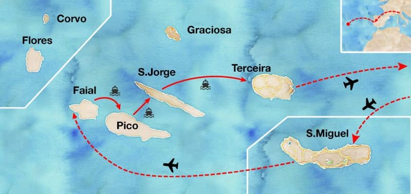 mappa dell'itinerario di viaggio alle azzorre