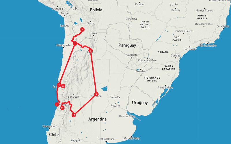 Itinerario cile e argentina del nord