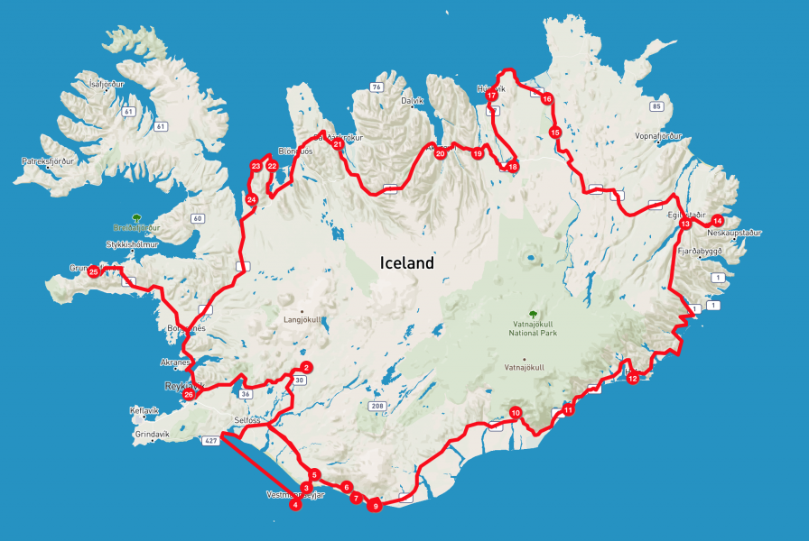 Viaggio in Islanda - Itinerario