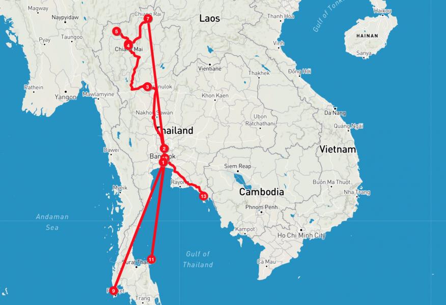viaggio thailandia: itinerario