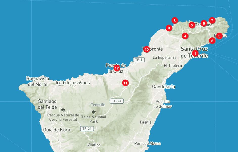 Mappa Tenerife Nord